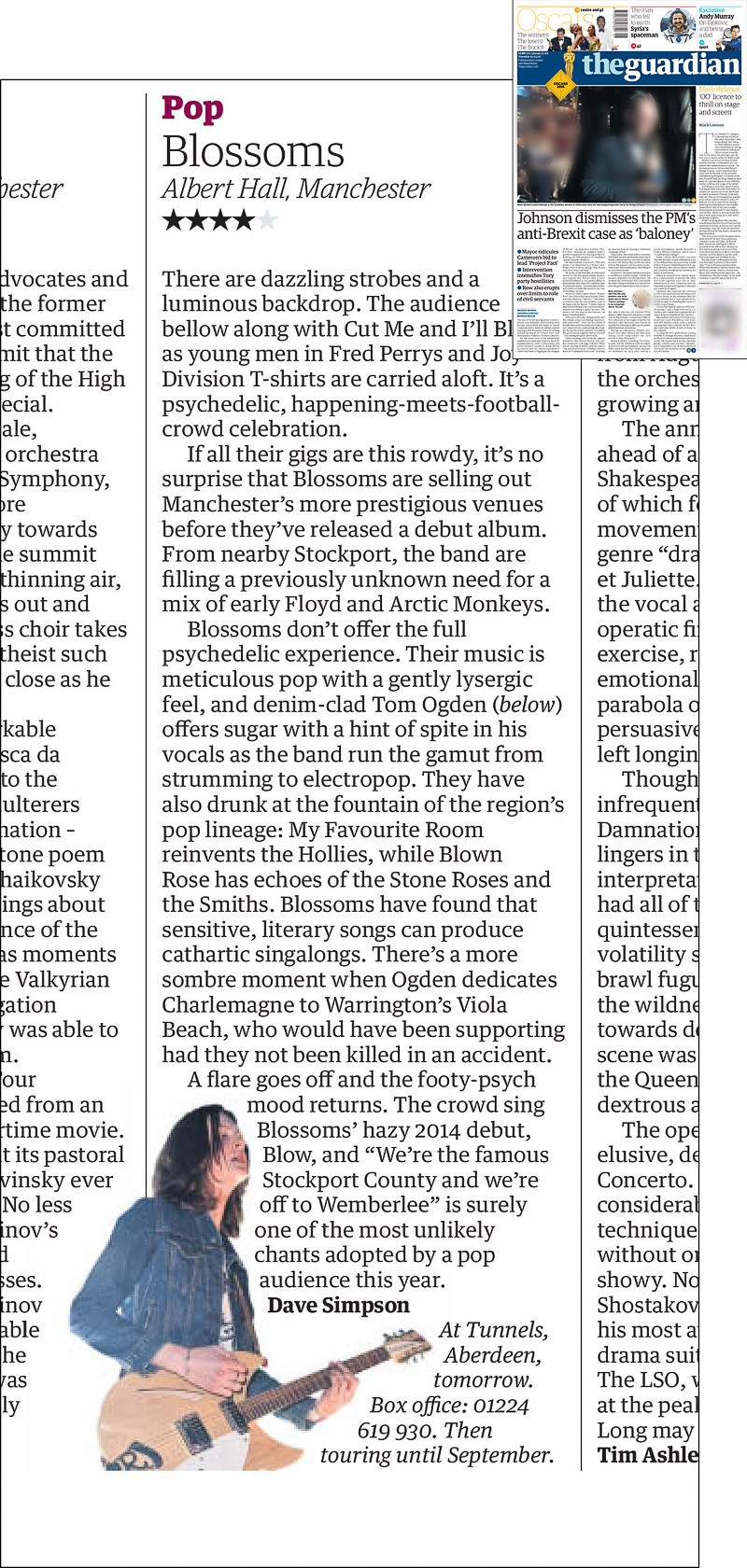 Image usage - Guardian newspaper 1 March 2016 - Blossoms live at Scala 25 February 2016
