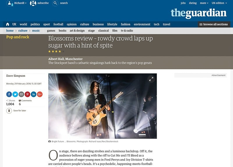 Image usage - Guardian online 29 February 2016 - Blossoms live at Scala 25 February 2016