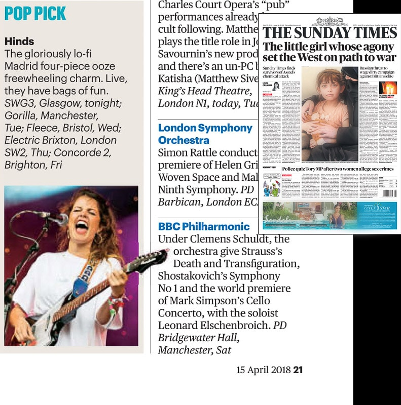 Image usage - Sunday Times 15/4/2018 - Hinds performing at Glastonbury Festival 2016