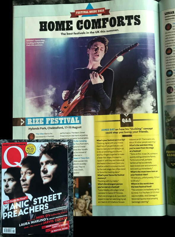 Image usage - Q Magazine June 2018 - James Bay performing at Electric Brixton 15/3/2018