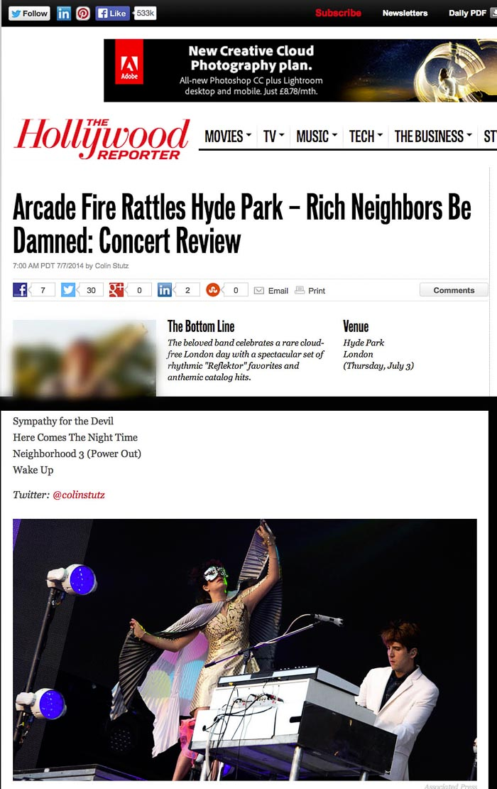 Image usage - Hollywood Reporter - Arcade Fire live at BST Hyde Park 2014