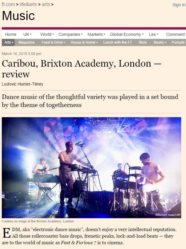 Image usage - Financial Times online 17 March 2015, Caribou live at Brixton Academy 14 March 2015, Caribou Brixton Academy 14 March 2015