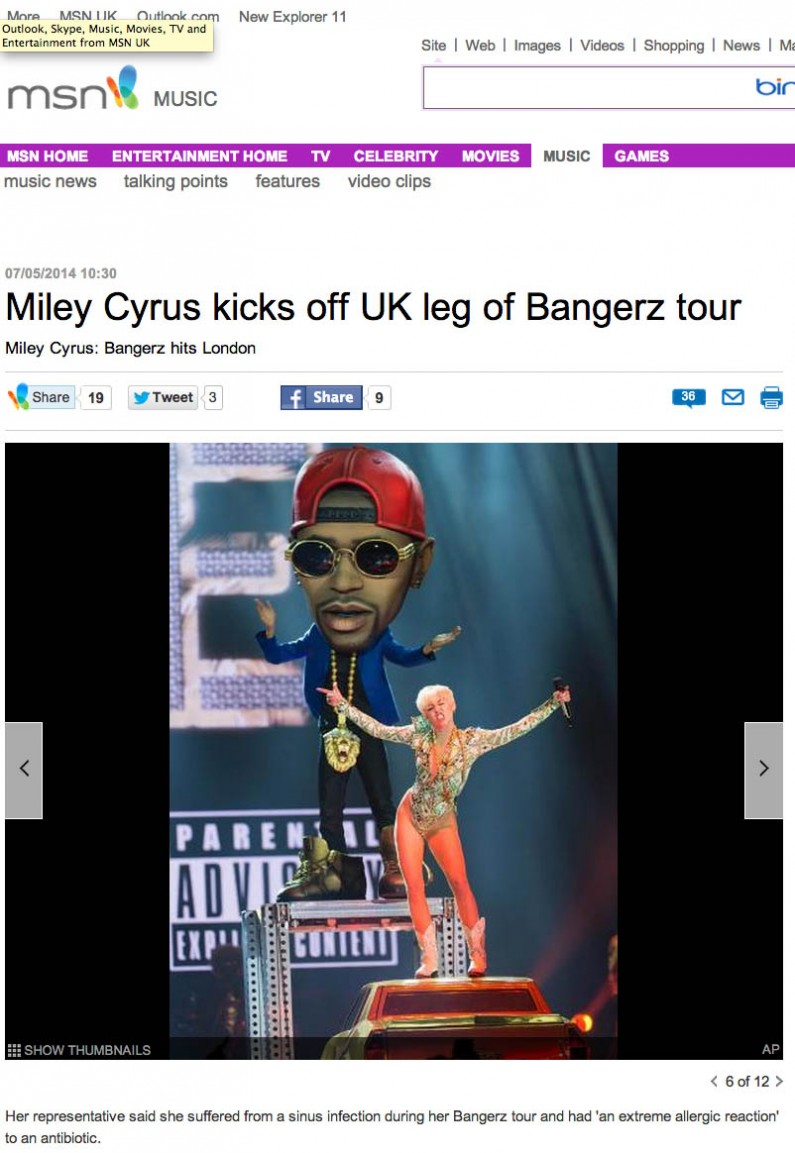 MSN image usage 7/5/14 - Miley Cyrus live at The O2 Arena 6/5/14