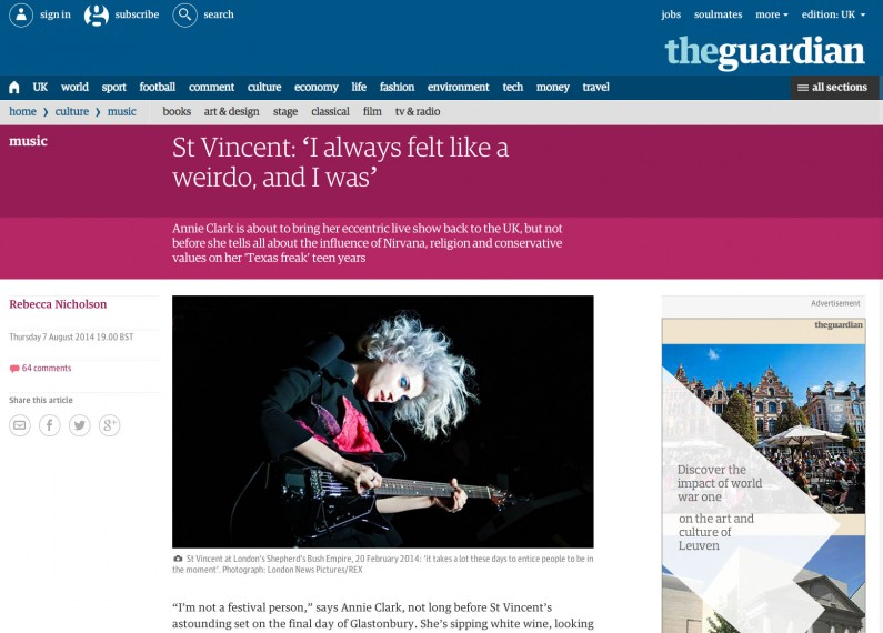 The Guardian online 7/8/14 - image usage of St Vincent live at Shepherds Bush Empire 20/2/14