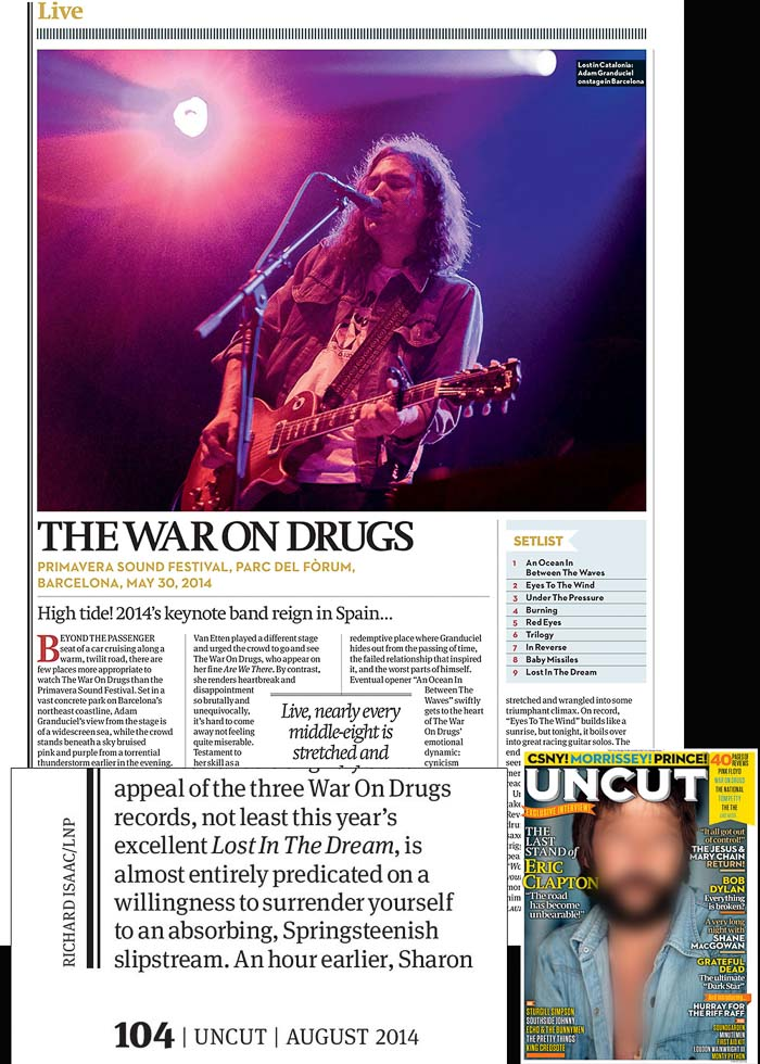 Image usage - Uncut Magazine August 2014 - Primavera Sound festival Barcelona, The War on Drugs