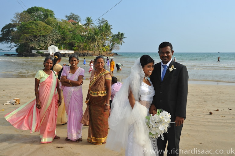 A Sri Lankan wedding party. Weligama, Sri Lanka