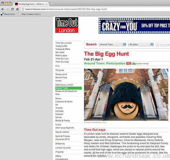 The Faberge Big Egg Hunt publicity pictures – published in Timeout