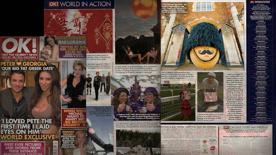 OK! Magazine issue 7 Feb 2012 – The Fabergé Big Egg Hunt publicity shots in situ