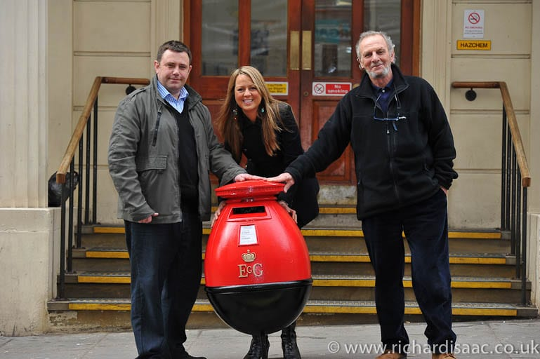 Press shots of the Egg Letter Box being collected from Charing Cross Police Station, 28 Feb 2012