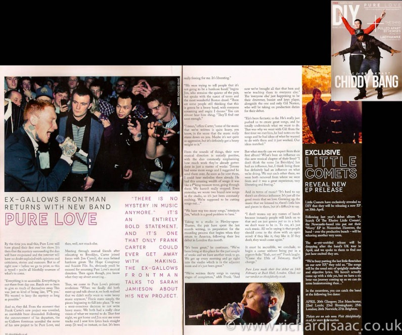 DIY Magazine March 2012 issue - my pics from Pure Love's first ever gig at Bush Hall pics used in main editorial feature