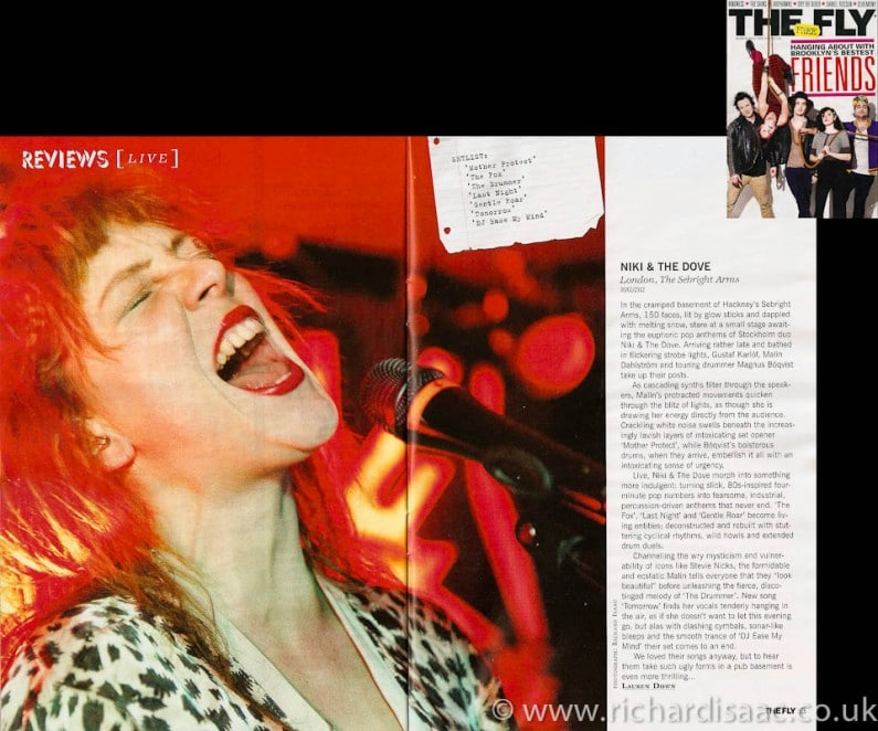 The Fly March 2012 issue - Niki & the Dove review runs as lead review with my pic