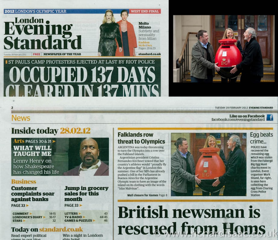 Egg Letter Box Found! Press shots published in the Evening Standard 28 Feb 2012