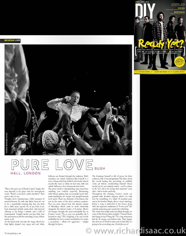 DIY April issue - Pure Love live at Bush Hall, 14 Feb 2012