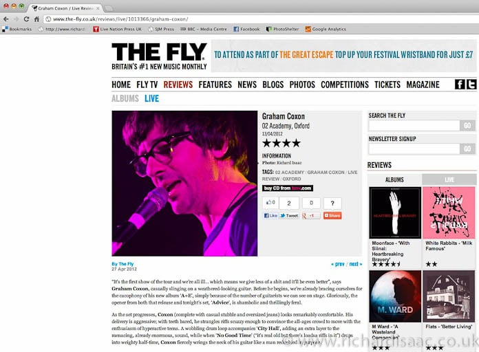 The Fly review - Graham Coxon live at O2 Academy Oxford