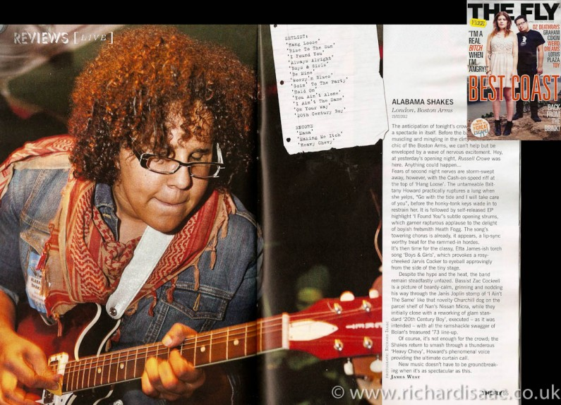 The Fly April issue lead live review - Alabama Shakes live at The Boston Arms, 23 Feb 2012