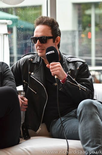 James Allan from Glasvegas being interviewed by Myspace, backstage at The Camden Crawl