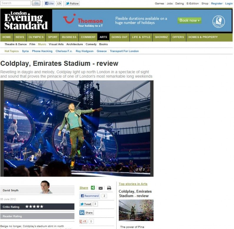 Evening Standard usage of Coldplay live at Emirates Stadium 1 June 2012 gig, within 6 June 2012 review
