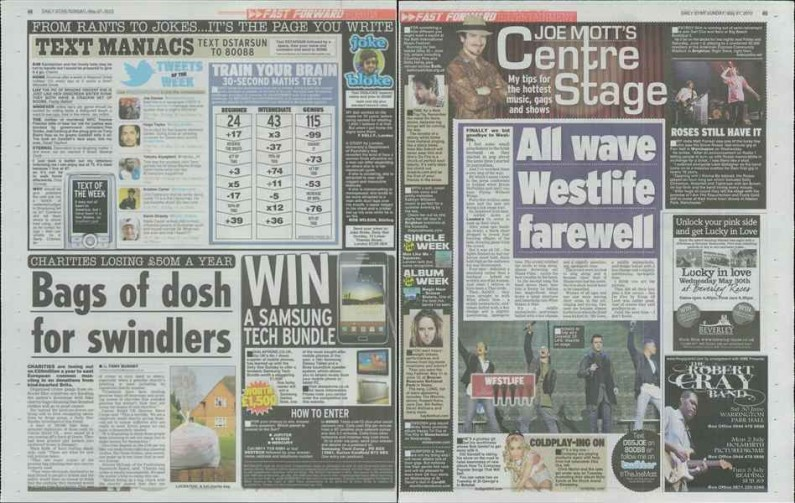 Usage - Westlife Farewell Tour 23 May 2012 - Daily Star Sunday 27 May 2012