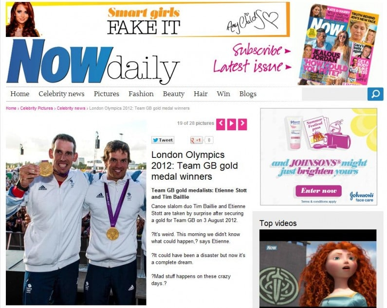 Now Magazine online pic usage - Team GB Olympic Medallists Etienne Stott and Tim Baille at BT London Live 2012, Aug 2012