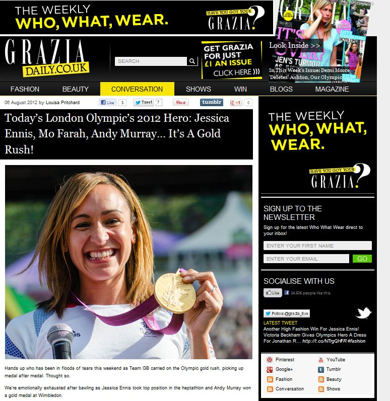 Grazia Magazine online pic usage - Team GB Olympic Medallist Jess Ennis at BT London Live 2012, Aug 2012