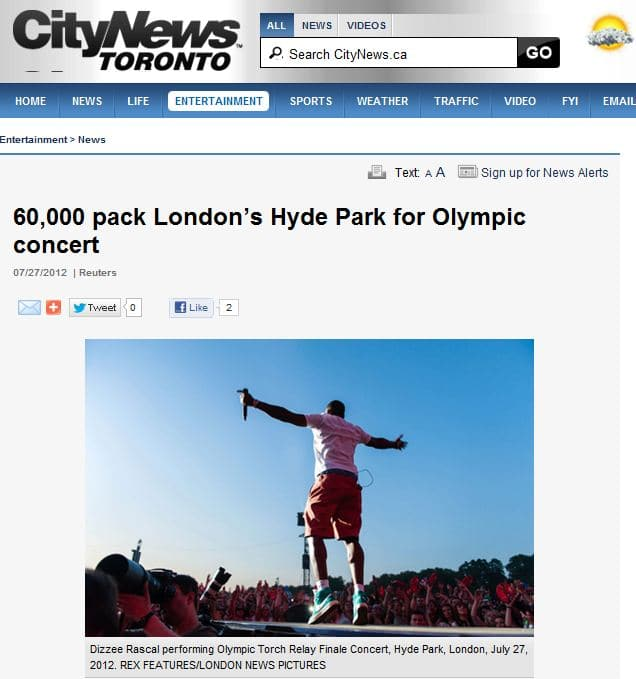 London Olympic Torch Relay Finale Concert Dizzee Rascale - 27 July 2012 - International Press Usage