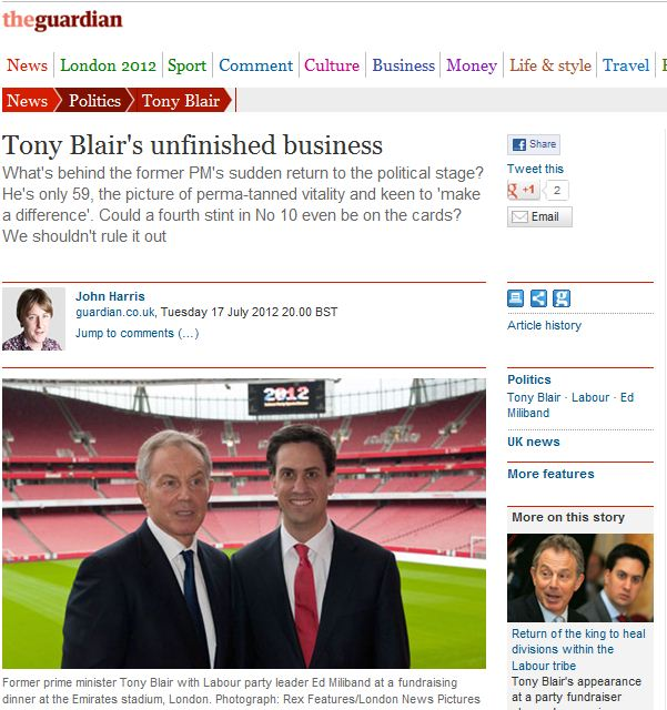 Tony Blair, Ed Milliband, Labour Party Sports Dinner 2012 - Press Usage