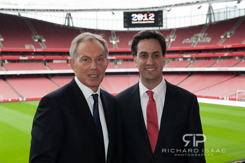 Tony Blair and Ed Milliband at the Labour Party Sports Dinner at Emirates Stadium 11/07/12
