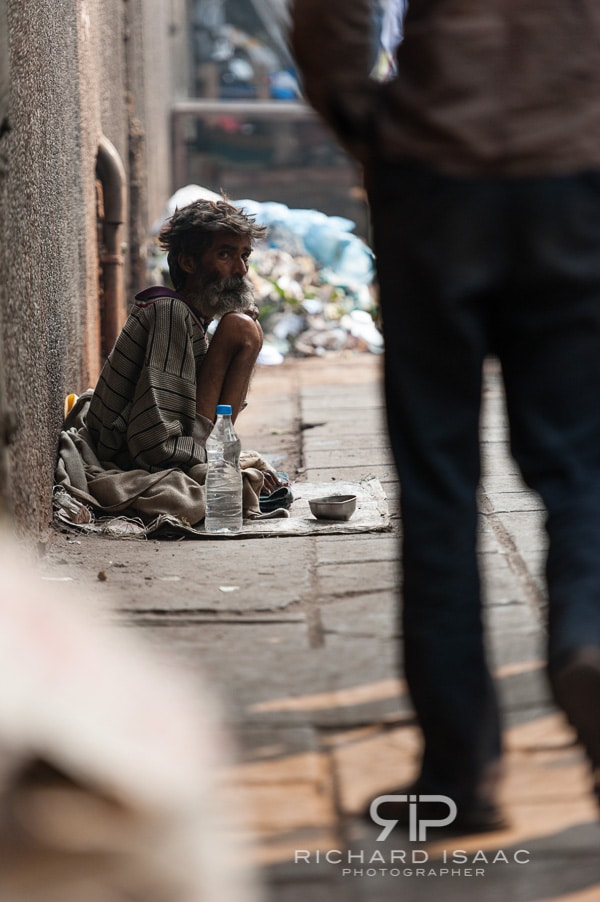 A beggar just off the busy Chandni Chowk in Old Delhi - 13/11/12