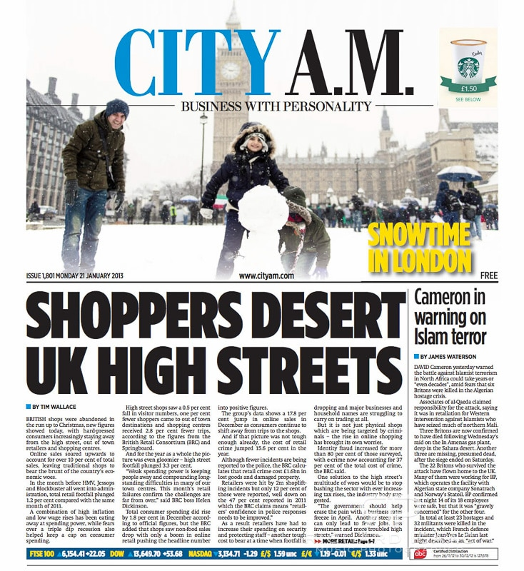 One of my pics of a snowy sunday in London on the cover of City AM, 21/1/13.  For the full shoot see http://www.richardisaac.co.uk/2013/01/news-london-snow/