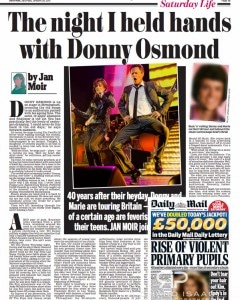 Daily Mail Saturday 26/1/13 - picture usage for Donny & Marie live at The O2 Arena 20/1/13 – for full set see http://www.richardisaac.co.uk/2013/01/donny-and-marie-osmond-o2-arena/