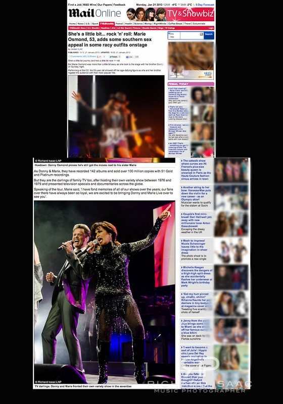 www.dailymail.co.uk 21/1/13 - picture usage for Donny & Marie live at The O2 Arena 20/1/13 - for full set see http://www.richardisaac.co.uk/2013/01/donny-and-marie-osmond-o2-arena/