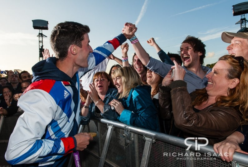 Team GB gold medal winning shooter Peter Wilson greets thousands of fans at BT London Live in Hyde Park - 3/8/12