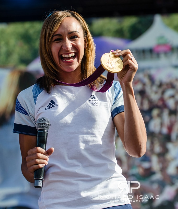 Team GB gold medal winning heptathlete Jennis Ennis proudly displays her medal in front of thousands of fans at BT London Live in Hyde Park - 5/8/12
