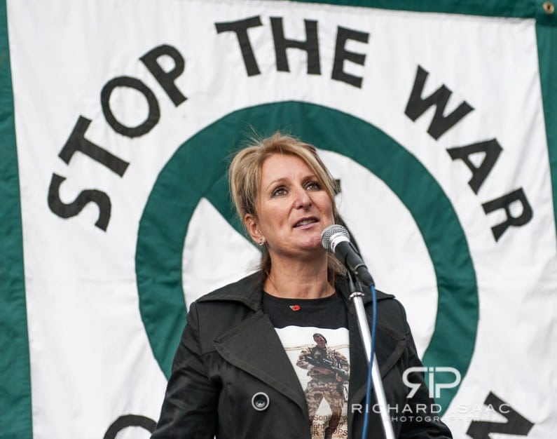 The mother of a soldier KIA speaks at a Stop the War in Afghanistan protest in Trafalgar Square, London - 7/10/12