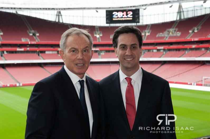 Tony Blair and Ed Milliband at the Labour Party Sports Conference, held at the Emirates Stadium - 11/7/12
