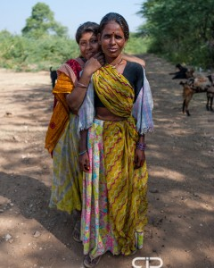 Two village women in the hills near Udaipur, India