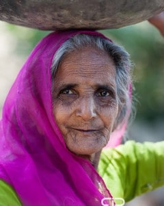 An old village woman, near Udaipur in Rajasthan, India