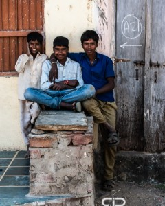 Young men relaxing in their village, near Udaipur, India