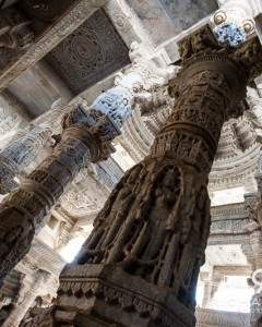 A few of the 1,400+ marble columns supporting the amazing Jain Ranakpur Temple - Ranakpur, India