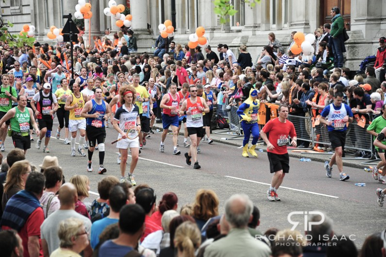 The final mile of the 2011 London Marathon on Birdcage Walk - 17/4/11