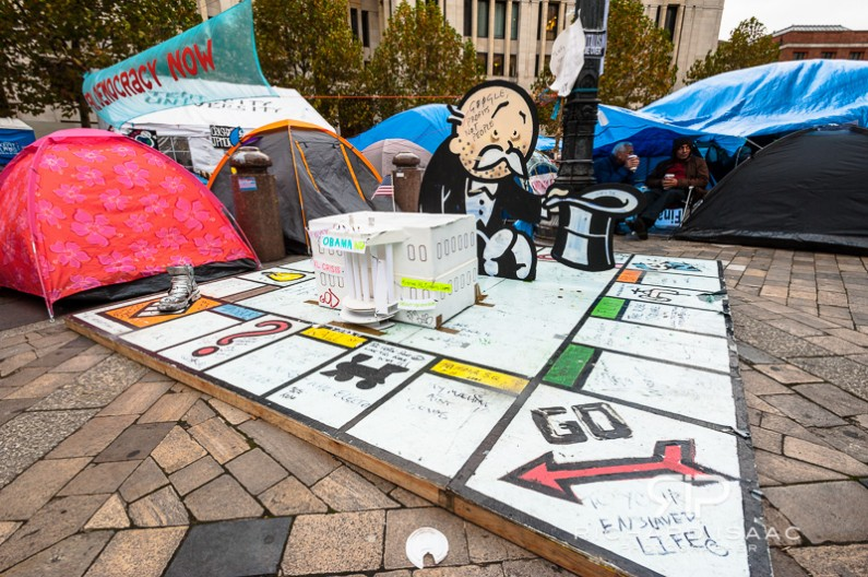 A dummy Monopoly board at the Occupy encampment outside St Paul's Cathedral - 6/11/11