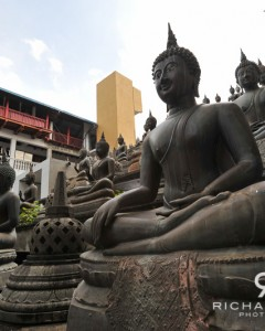 Statues of the Buddha at the Gangaramaya Buddhist temple in Colombo, Sri Lanka