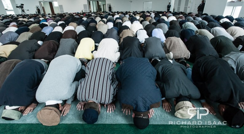 "Muslims praying at Baitul Futuh Mosque in London, following a sermon by Hadhrat Mirza Masroor Ahmad, spiritual leader and caliph of the Ahmadiyya Muslim Community in response to the anti-Islamic ""Innocence of Muslims"" film – 21/9/12"