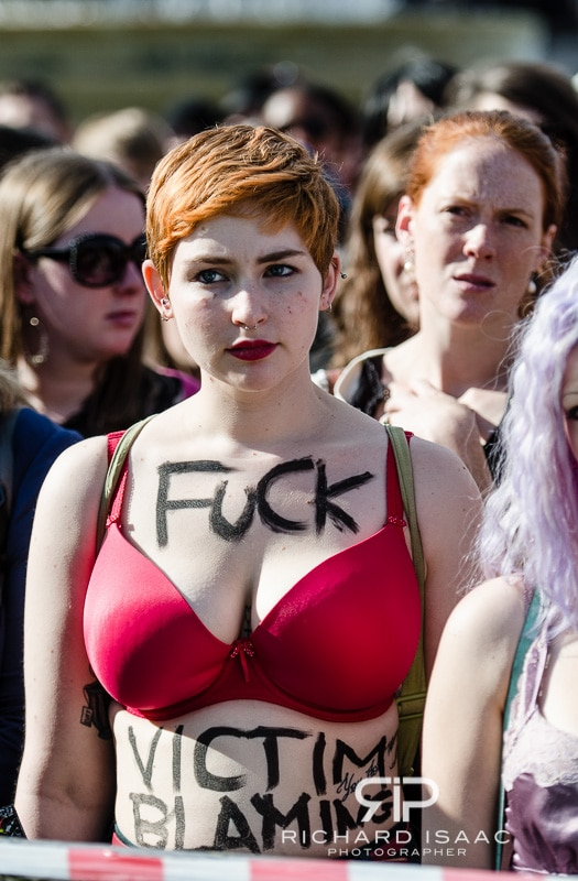 A young woman at the anti-rape Slutwalk demonstration in Trafalgar Square, London - 22/9/12