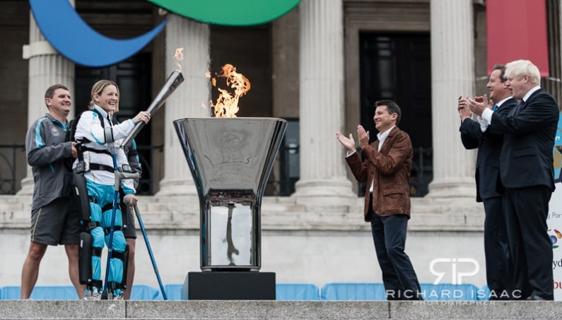 Paralysed former professional horsewoman Claire Lomas lights the Olympic Cauldron in Trafalgar Square, that marks the ceremonial beginning of the Paralympic Torch Relay in London - 24/8/12