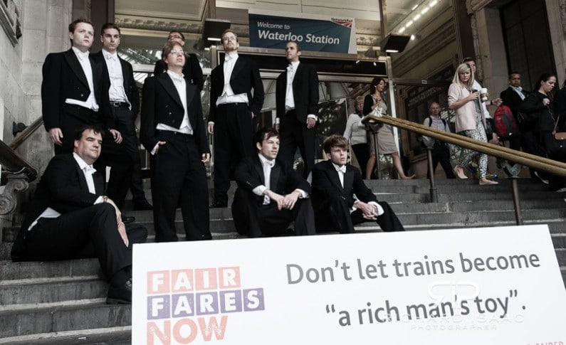 Demonstrators protest against rising rail prices at Waterloo Rail Station in London - 14/8/12