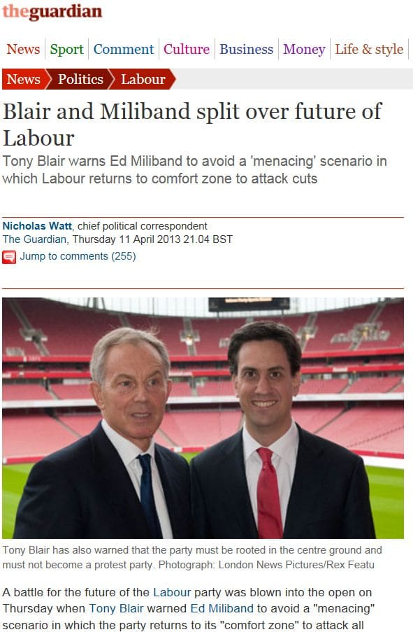 Guardian online 11/4/13 - Tony Blair & Ed Miliband @ Labour Party Sports Conference