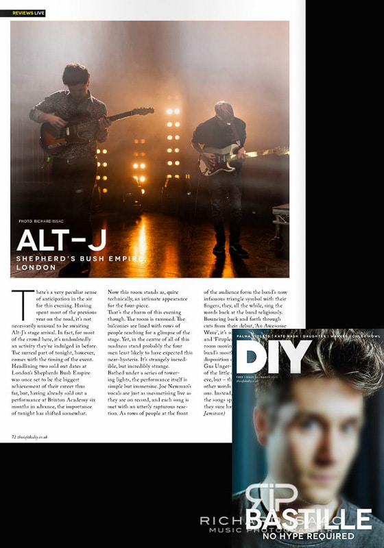 Print usage DIY Magazine March issue - Alt J live at Shepherds Bush Empire 18/1/13