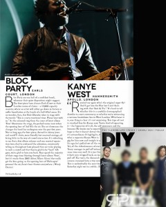 Print usage DIY Magazine April issue - Bloc Party live at Earls Court 22/2/13