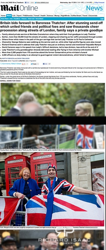 Mailonline usage 16/4/13 - a mourner camping outside St Pauls Cathedral the day before the funeral of Margaret Thatcher